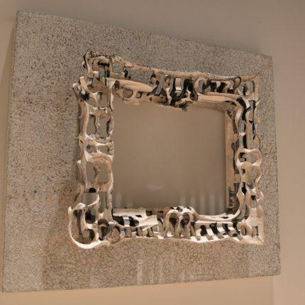 「naked and cavity」-frame- stone, wood, acrylic 490x540x140mm 2020