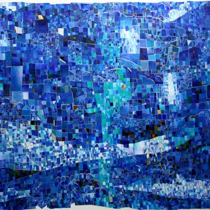 青にたゆたう繰り返し現れる明日の景色 キャンバスに油彩 2018  162/130cm