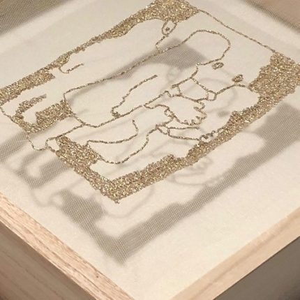 Schatten Big Friend, 2020, Painted Mesh Encased in Wooden Box w/glass, H34×W34×D7cm
