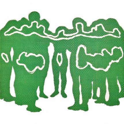 Silhouette Huddle, 2021, Acrylic paint on canvas, H54×W73cm